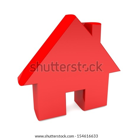 3d red house on white background