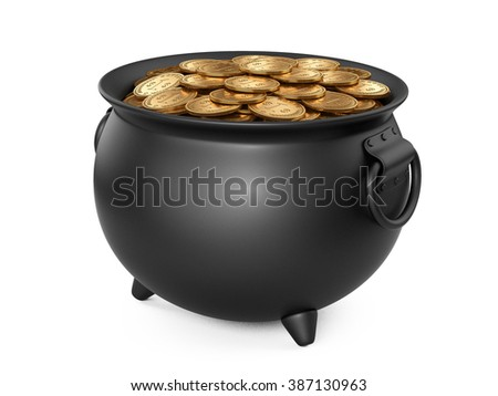 3d render black pot of gold. cauldron full of coins isolated on white background.
