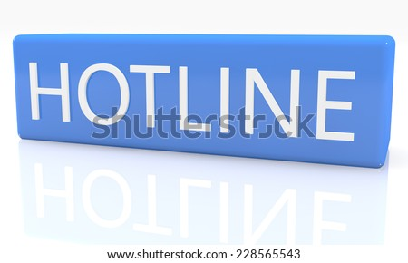 3d render blue box with text Hotline on it on white background with reflection