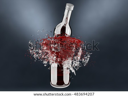 3d render, breaking bottle with red splash isolated on white background
