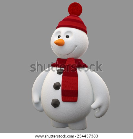 3d render character, cheerful white snowman with Santa hat and scarf, cartoon ilustration isolated on white background, cute snow man with hands and legs, Christmas cards, decorations, winter mascot