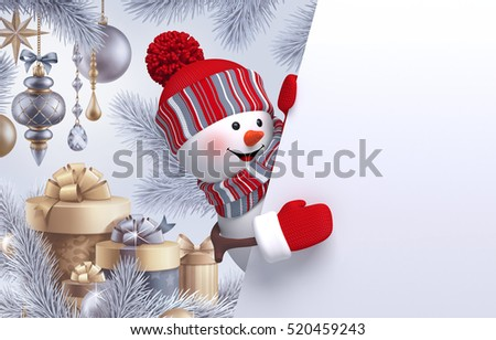 3d render, digital illustration, curious snowman looking out, Christmas tree, hanging ornaments, balls,poster, gifts, winter holidays background, blank banner, greeting card template