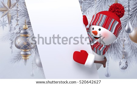 3d render, digital illustration, Snowman hiding, holding blank banner, silver Christmas holiday background, Happy New Year greeting card template