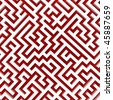 3d Render illustration of Simple white and red maze - stock photo