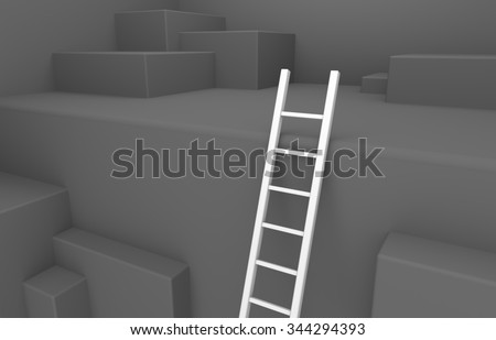 3D render illustration, white ladder leads out of a pit