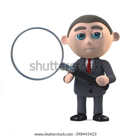 3d render in a cartoon style of a businessman holding a magnifying glass