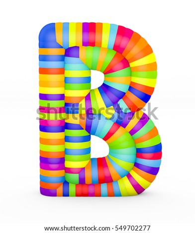 3d render letter B made with colorful plastic fragments on a white background.