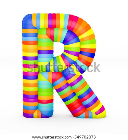 3d render letter R made with colorful plastic fragments on a white background.