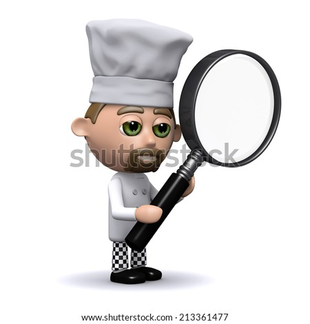 3d render of a chef holding a magnifying glass