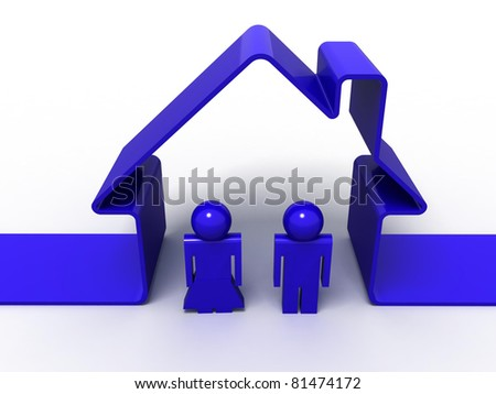 3d render of a house symbol and a couple isolated on white