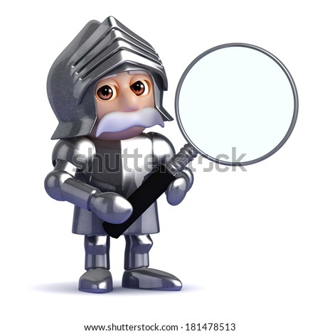 3d render of a knight with a magnifying glass