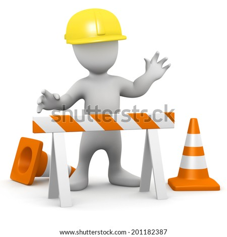 3d render of a little person in hard hat working at construction