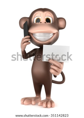 3d render of a monkey holding a mobile phone making a call and holding blank card