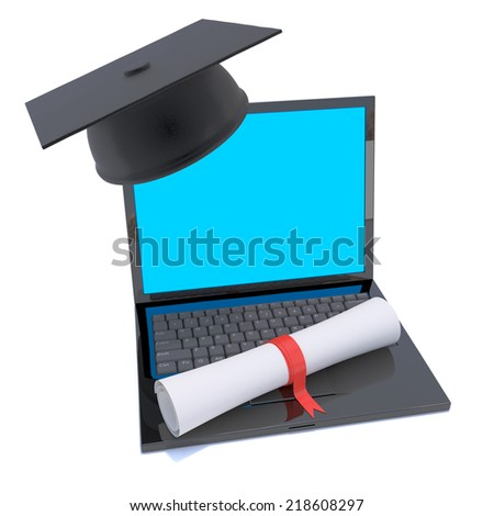3d render of a mortar board and diploma scroll resting on a laptop pc