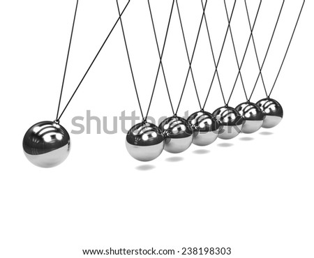 3d render of a Newtons Cradle in action