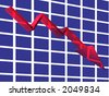3D render of a red crystal line graph. - stock photo