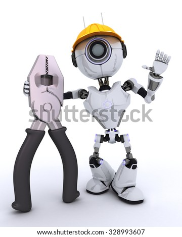 3D Render of a Robot Builder with pliers