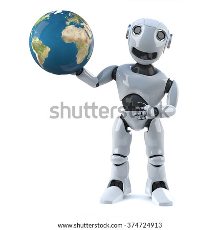 3d render of a robot holding a globe of the Earth.