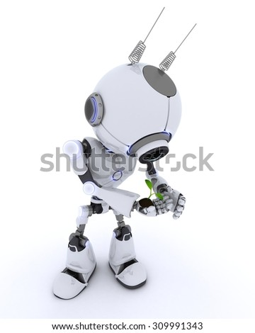 3D render of a Robot with nurturing a plant