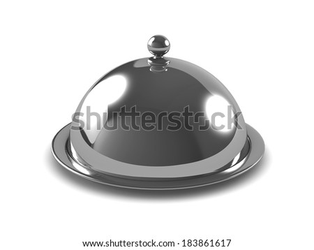 3d render of a silver platter with lid on