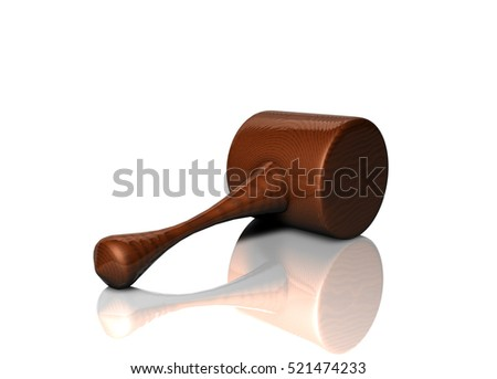 3D Render of a wooden gavel. With a Clipping Path