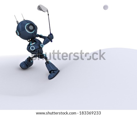3D Render of an Android playing golf
