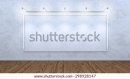 3 D render of an blank frame on a concrete wall of a gallery, lit with five spot lights. The scene is set indoors of a gallery or similar. The wall and canvas are white while floor is wooden.