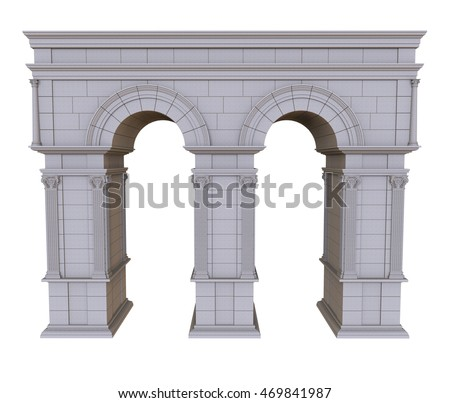 3d render of architectural arch on a white background