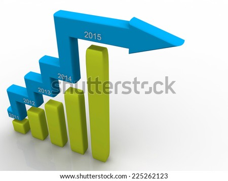 3d render of business graph of 2015