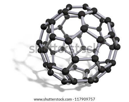 3d render of C60 carbon fullerene with soft shadow isolated on white