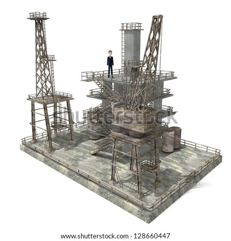3d render of cartoon character on drilling rig