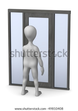 3d render of cartoon character with door