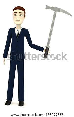 3d render of cartoon character with hammer