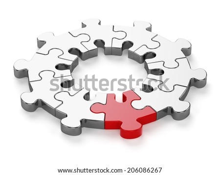 3d render of chrome jigsaw with red one isolated on white background