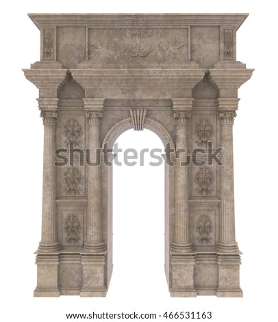 3d render of Classic stone arch with columns on a white background