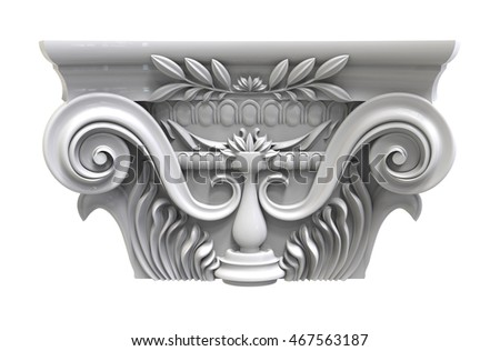 3d render of Classical white column pedestal on a white background