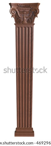 3d render of Classical wooden column on a white background