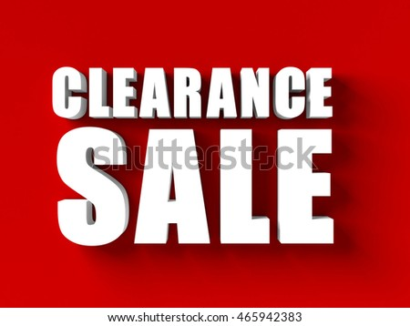 3d render of clearance sale in red blackground