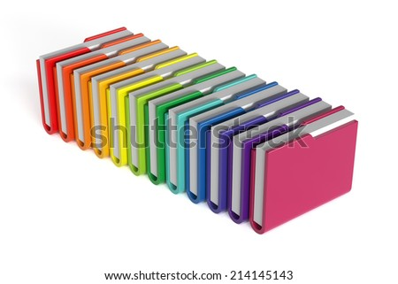 3d render of colorful folders set isolated on white background