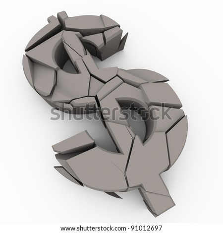 3d render of cracked dollar symbol