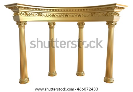 3d render of gold colonnade on a white background