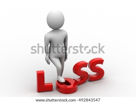 3d render of man with word loss