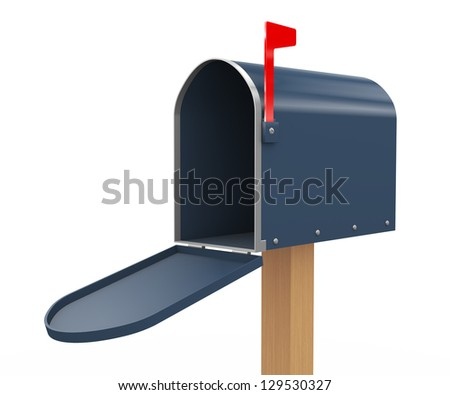 3d render of opened mailbox on white background