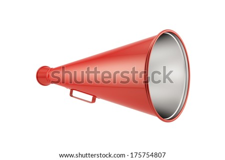 3d render of red megaphone isolated on white background