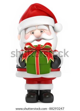 3D Render of Santa Claus giving gift