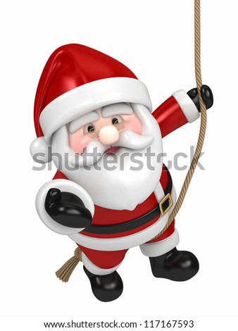 3D render of Santa Claus hanging