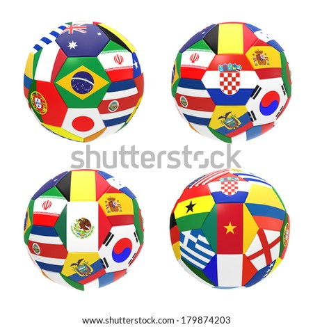 3D render of 4 soccer football representing competition group A on 2014 FIFA world cup on white background