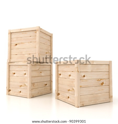 3d render of wooden boxes  on white