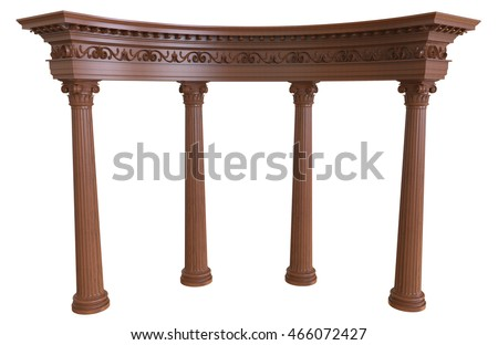 3d render of wooden colonnade on a white background