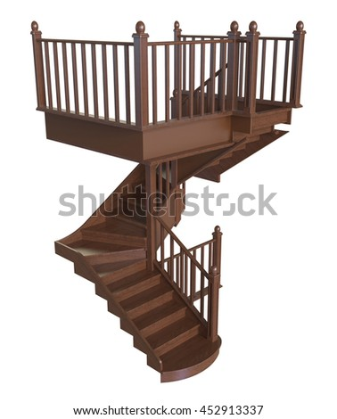 3d render of wooden staircase on a white background